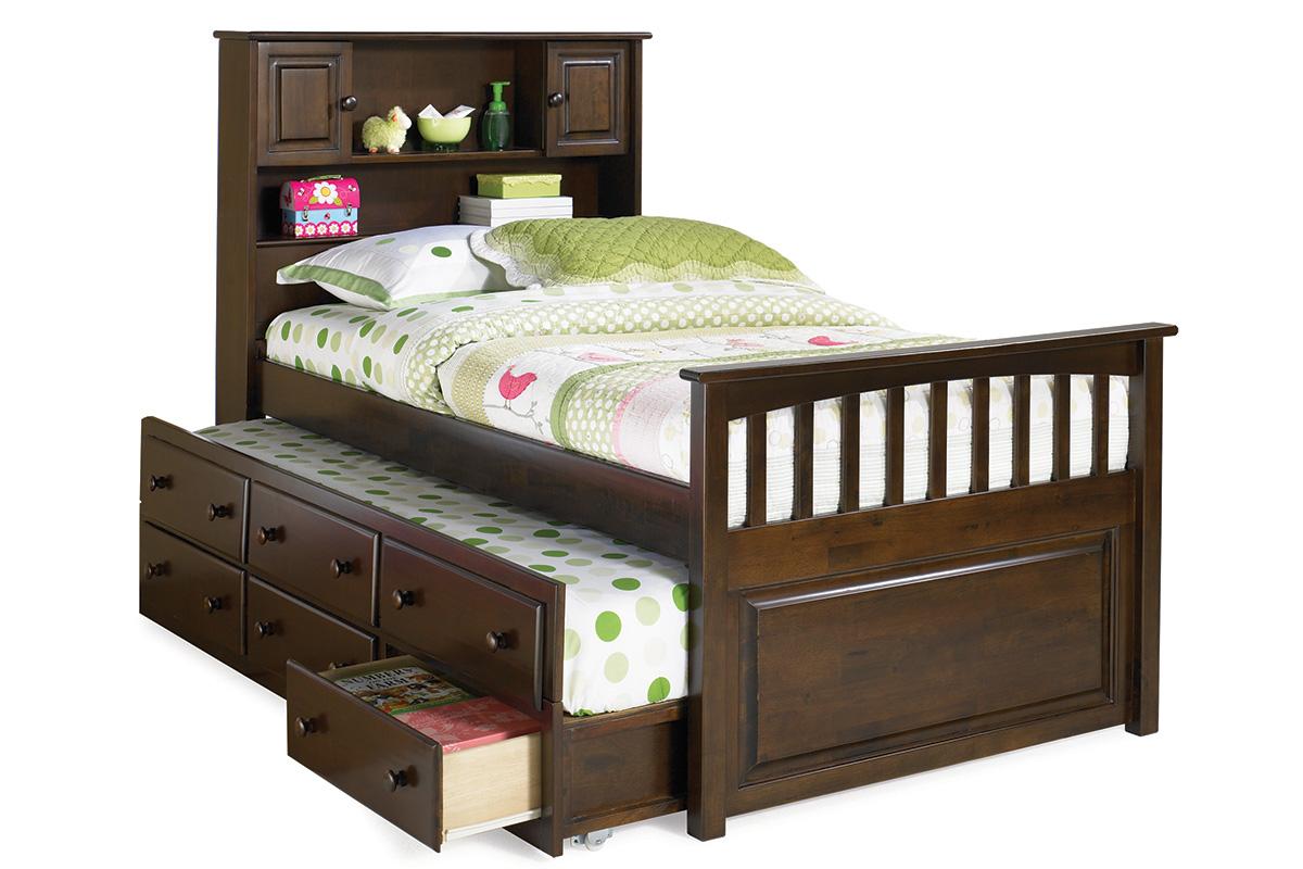 Captain S Bookcase Platform Bed Antique Walnut Ap85260