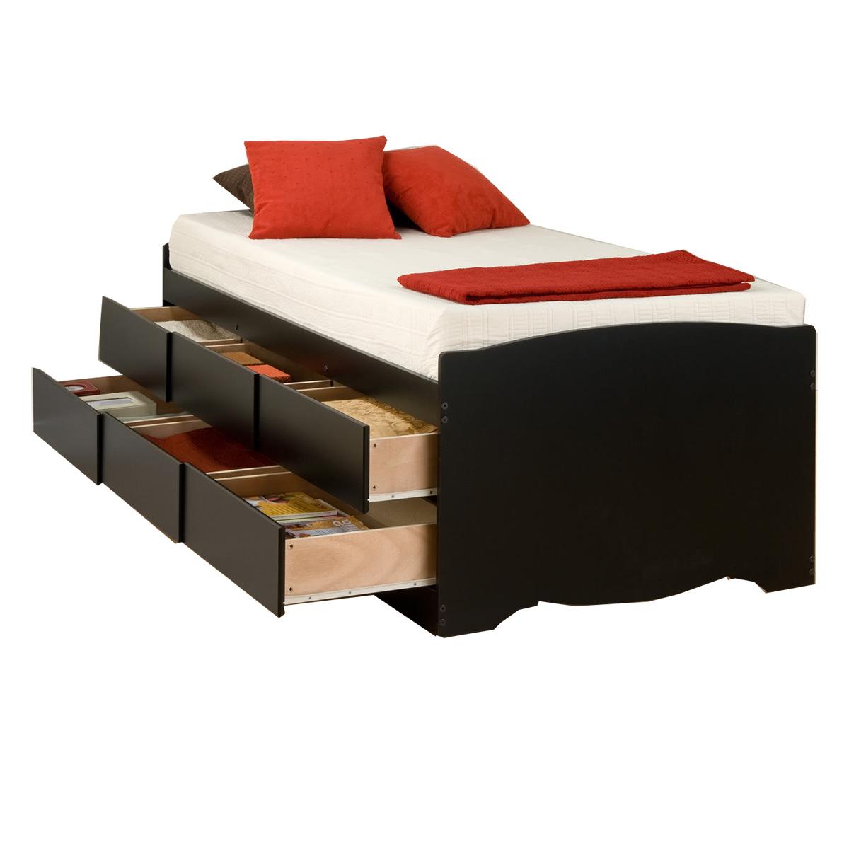 Captain S Storage Platform Bed Black