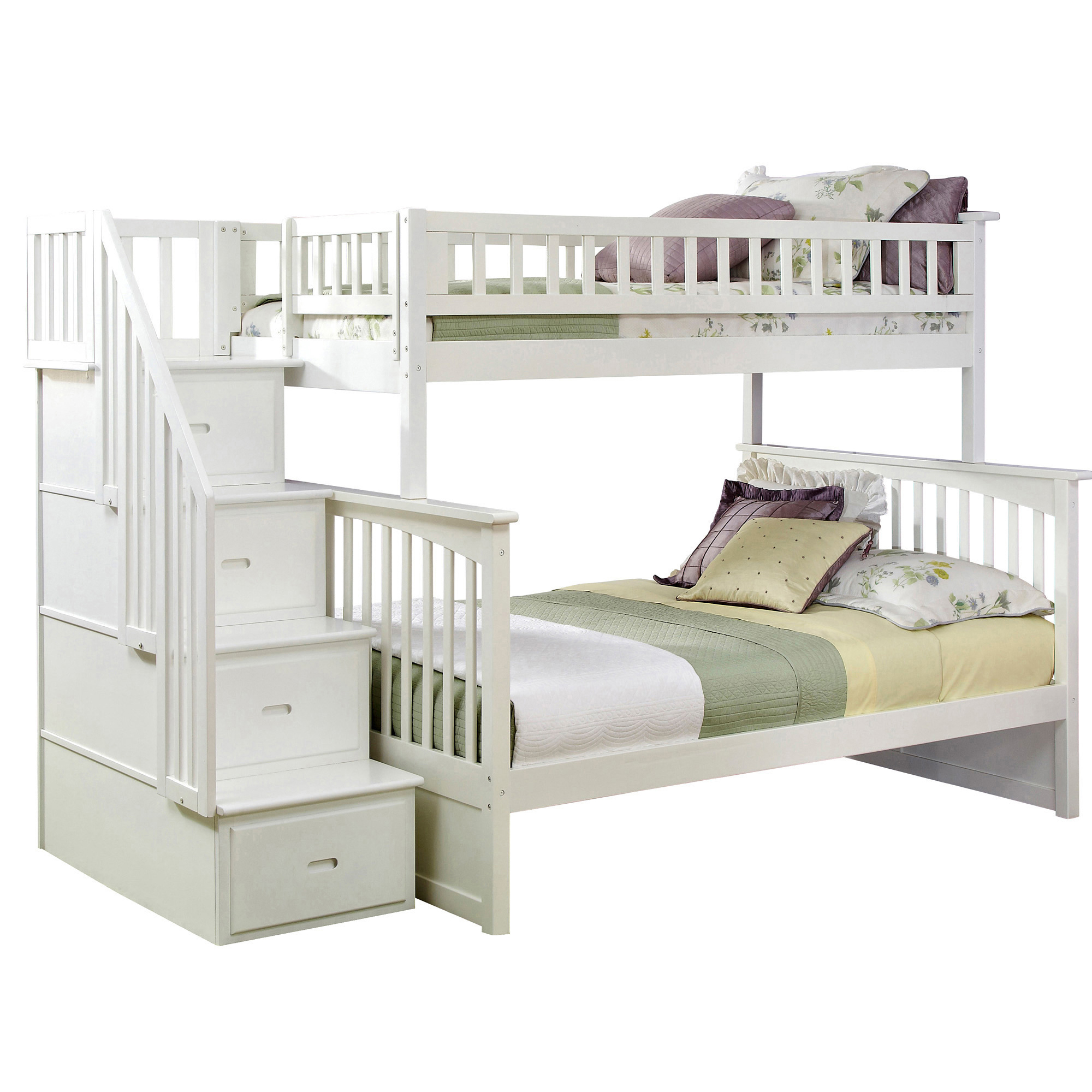 Columbia Twin Full Staircase Bunk Bed White Ab55702