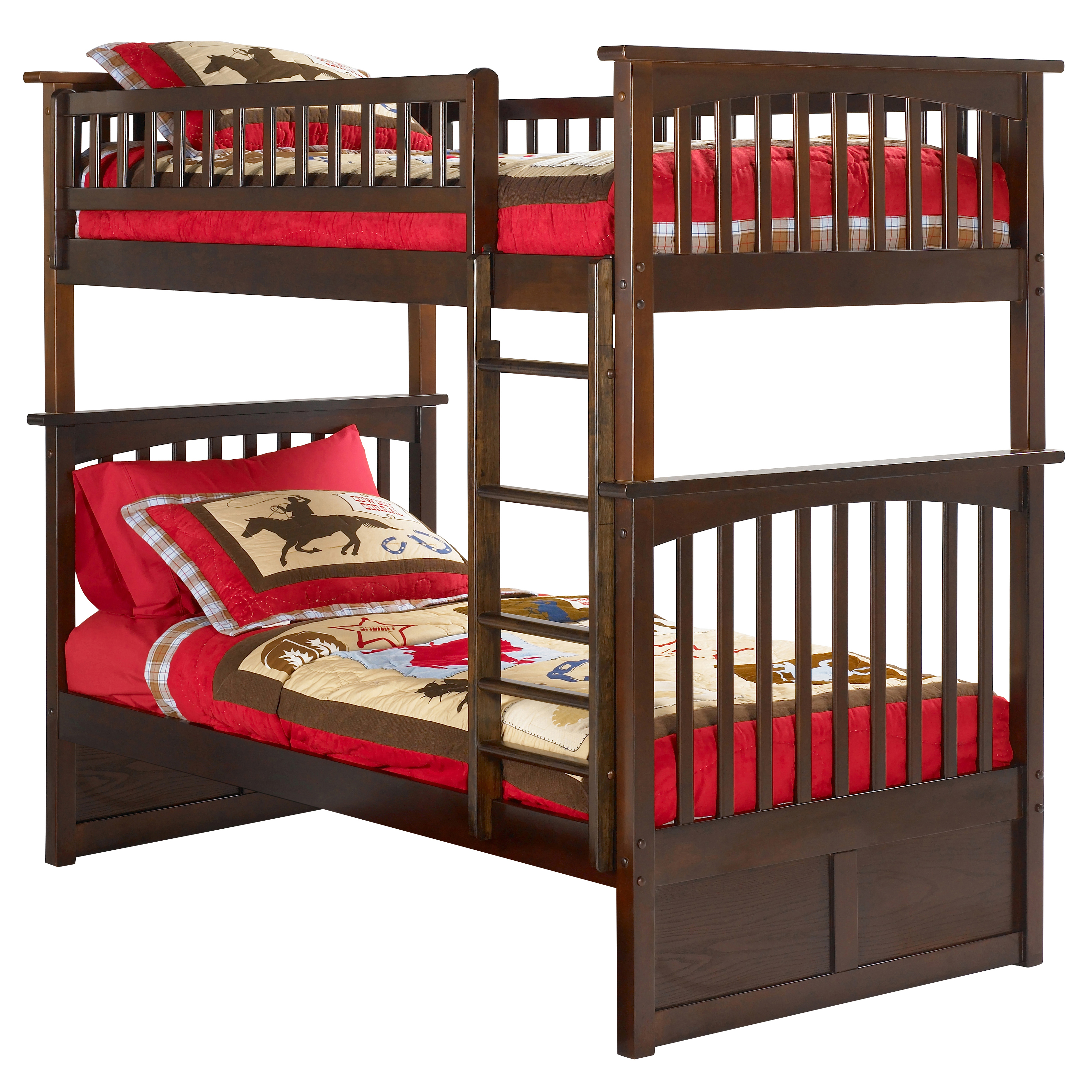 Columbia Twin Twin Bunk Bed Antique Walnut Ab55104
