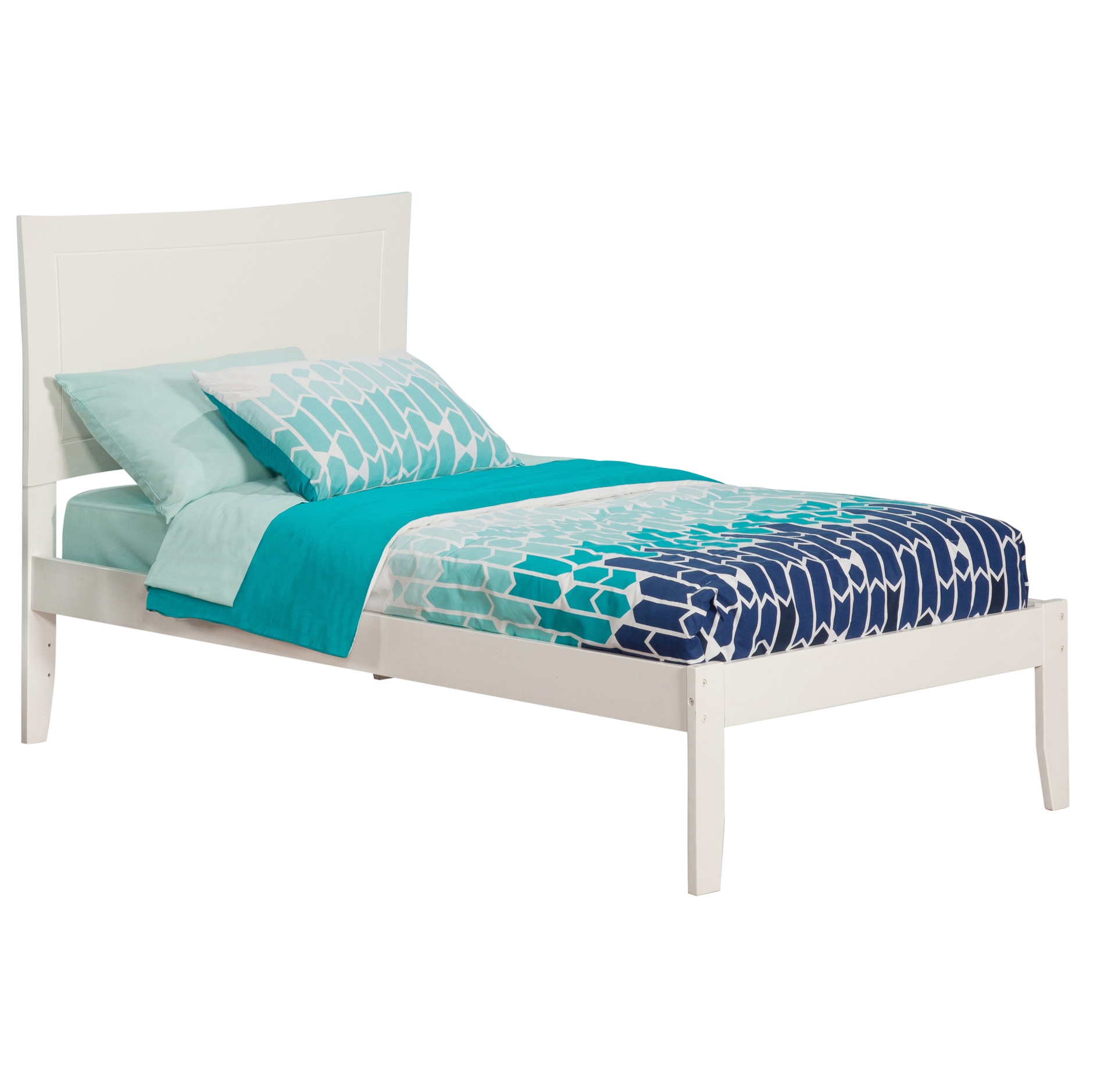 Metro Platform Bed with Open Footrails - White
