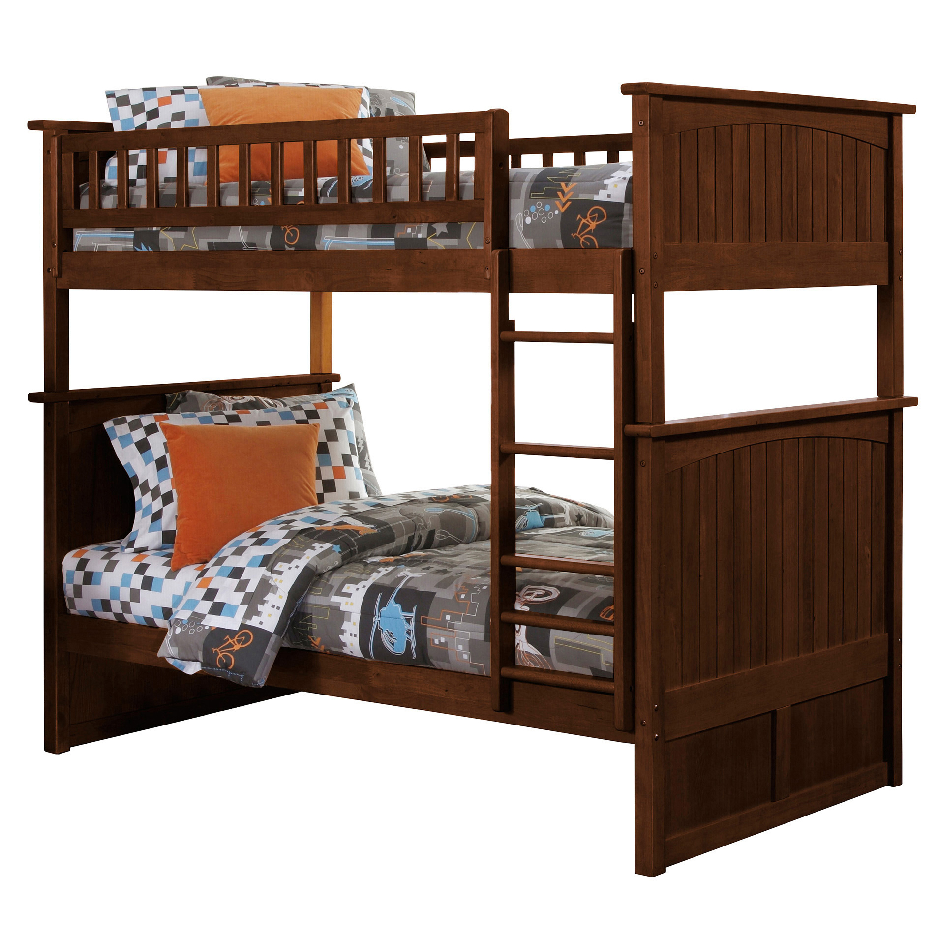 Nantucket Twin Twin Bunk Bed Antique Walnut Ab59104