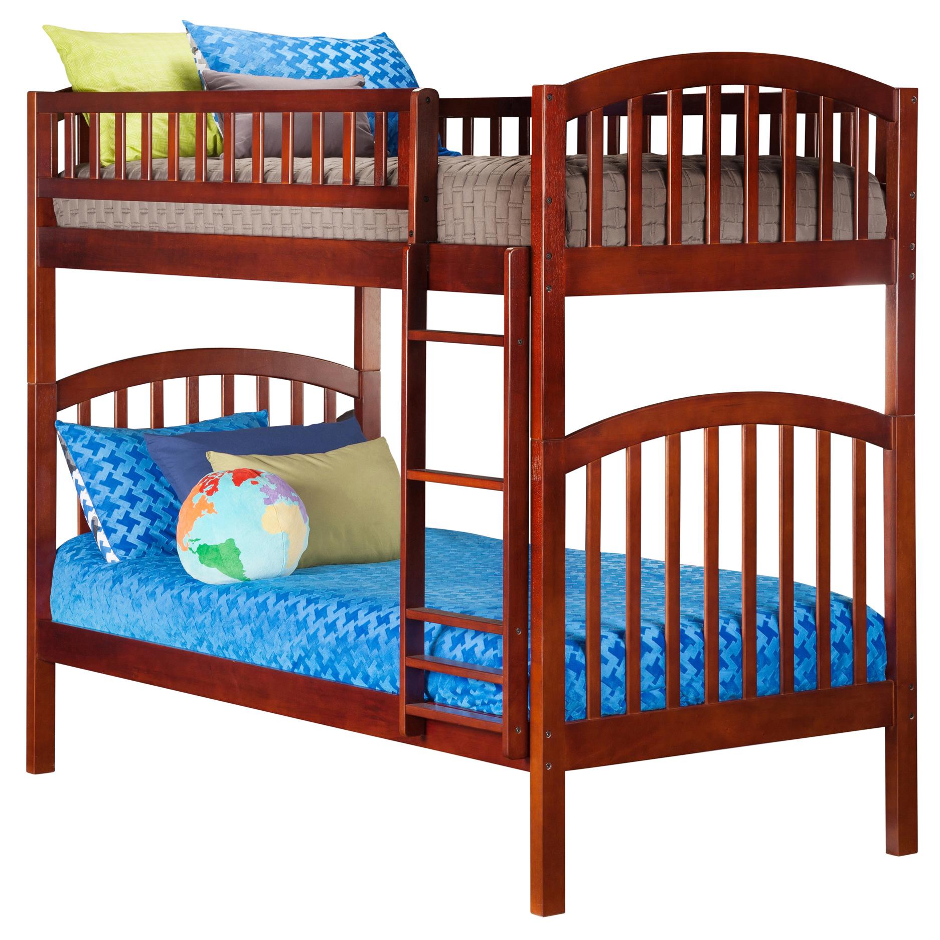 Richland Twin Twin Bunk Bed Antique Walnut Ab64104