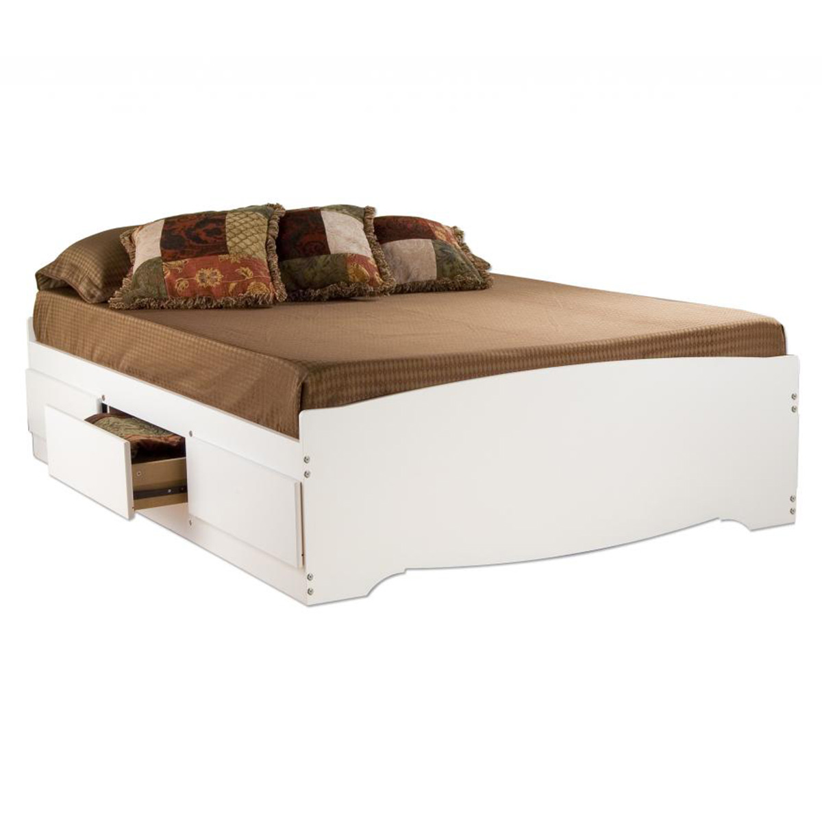Storage Platform Bed White