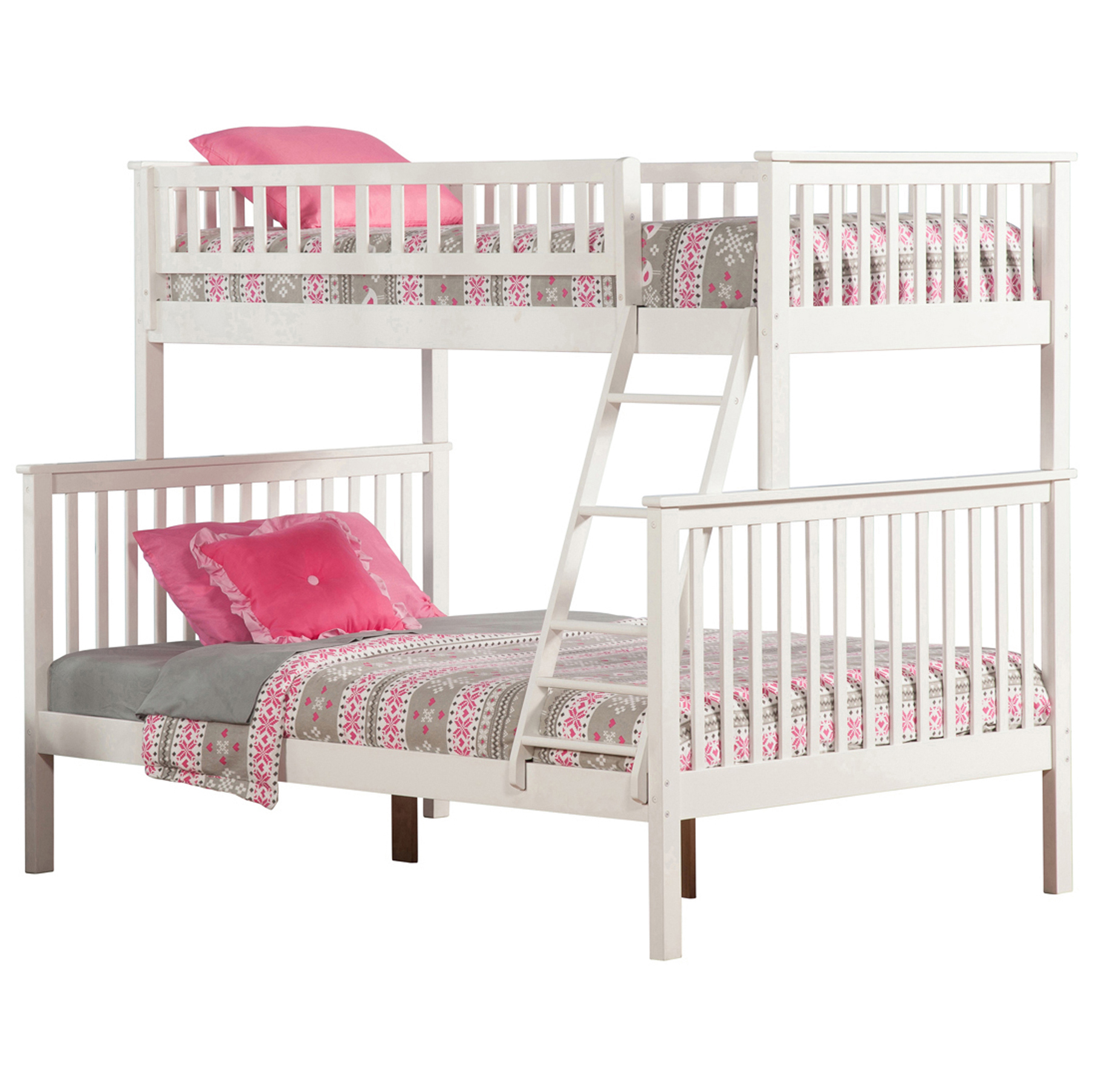 Woodland Twin Full Bunk Bed White Ab56202