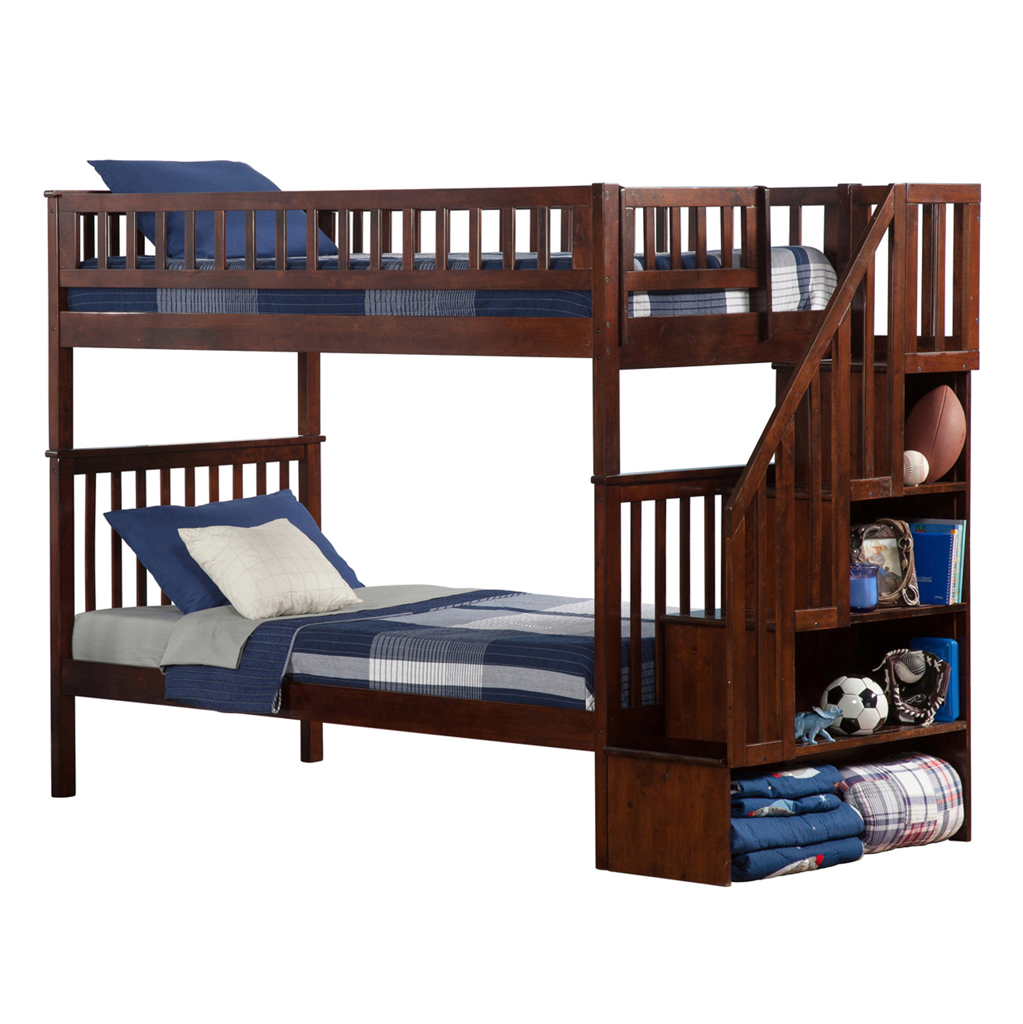 Woodland Twin Twin Staircase Bunk Bed Antique Walnut Ab56604