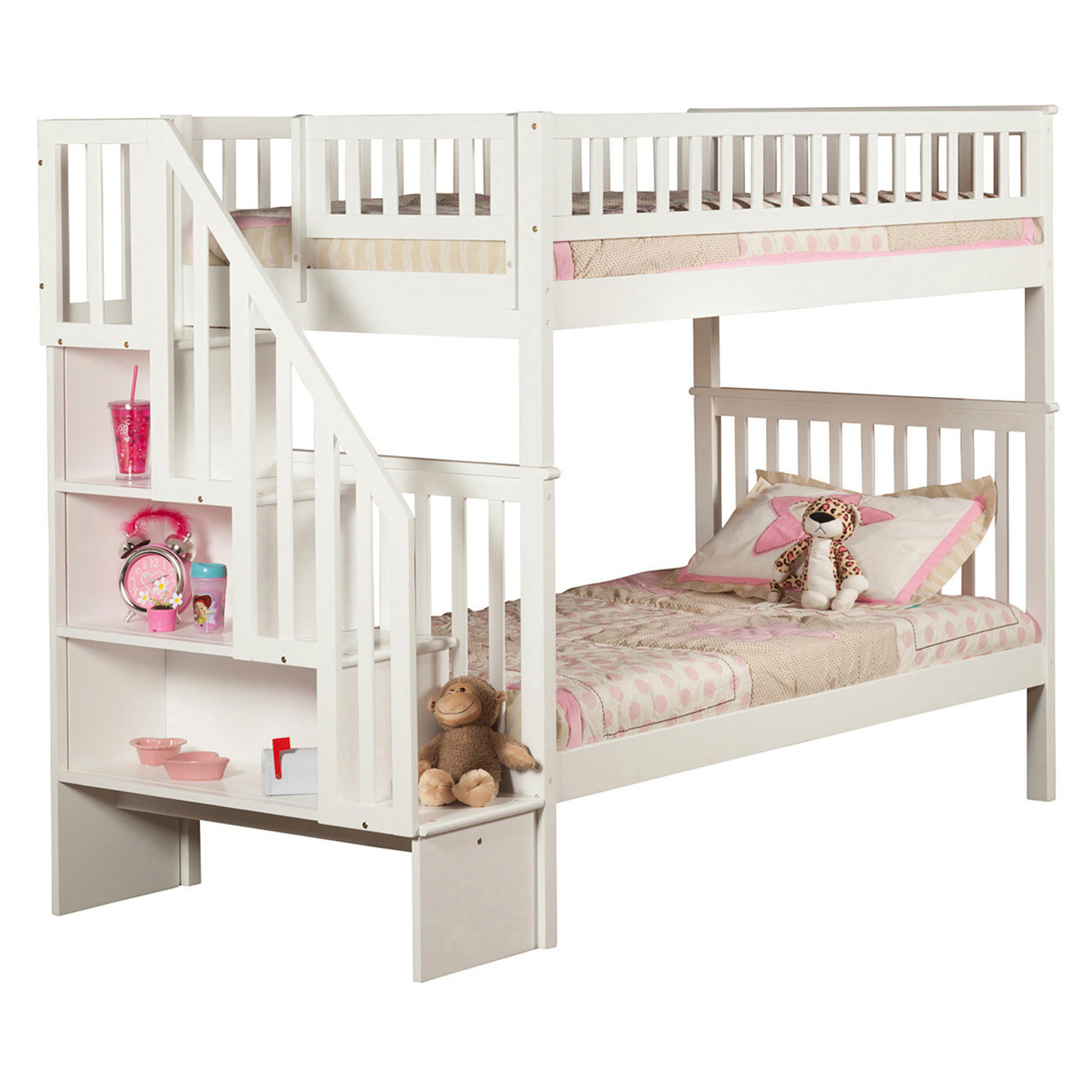 Woodland Twin Twin Staircase Bunk Bed White Ab56602