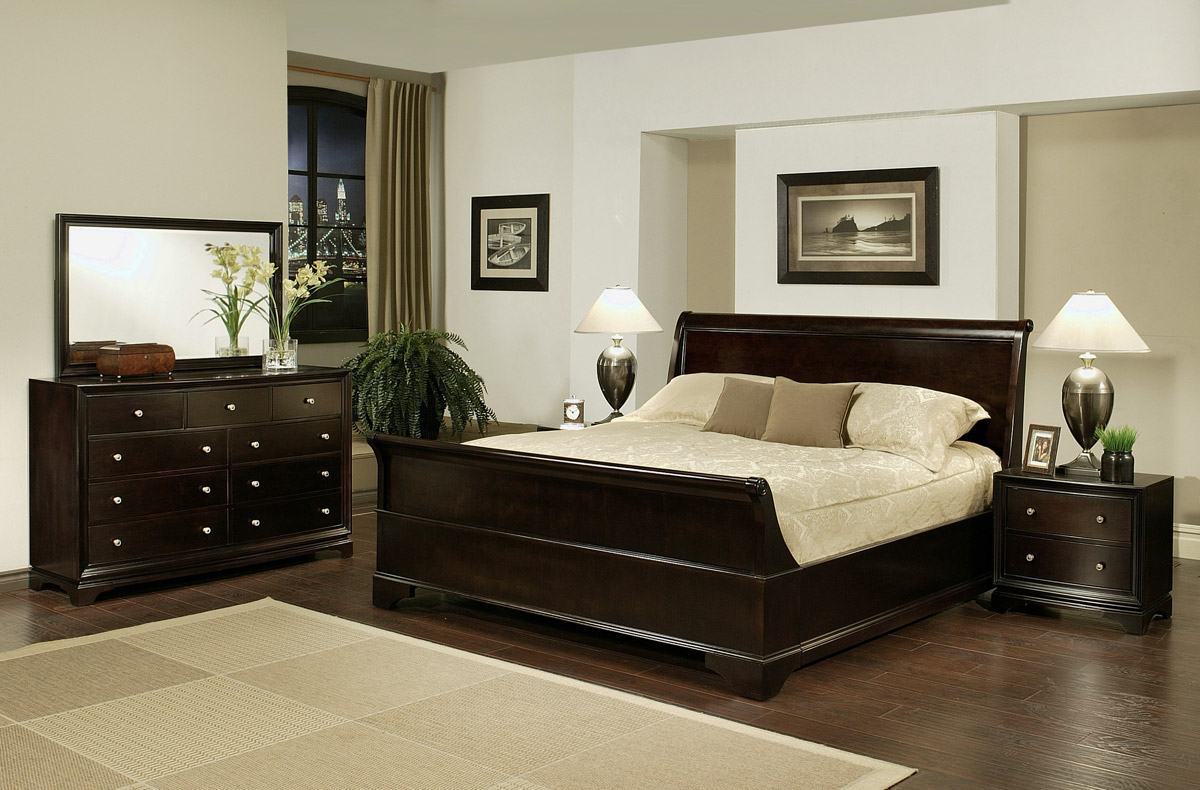 Bedroom set sleigh - 5 Pc Cooper Sleigh Bed Set Pbo Abbl141 140 134