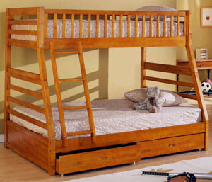 Mission Twin Full Bunk Bed W Drawers