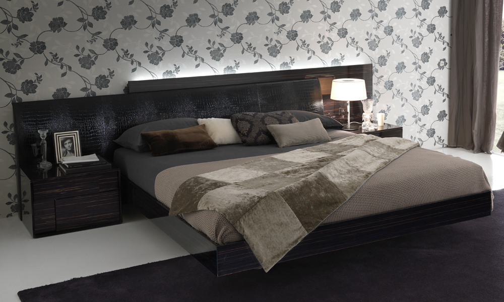 Ebony Irwin Leather Platform Bed
