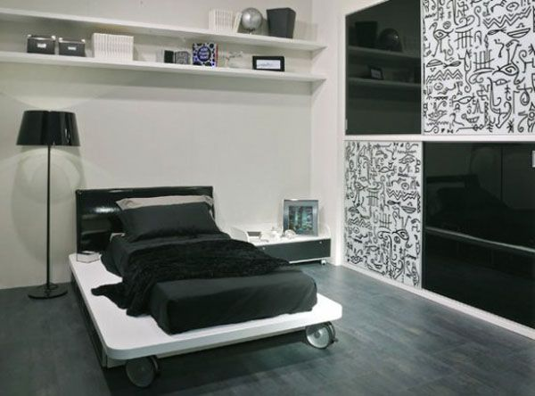 Modern Black and White Teen Bedroom