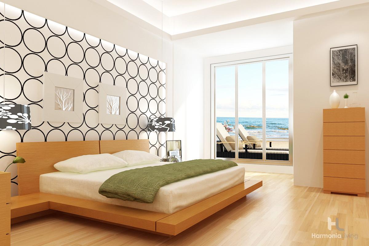 Kooning platform bed modern bedroom design floating asian walnut oak style sleek clean lines affordable value