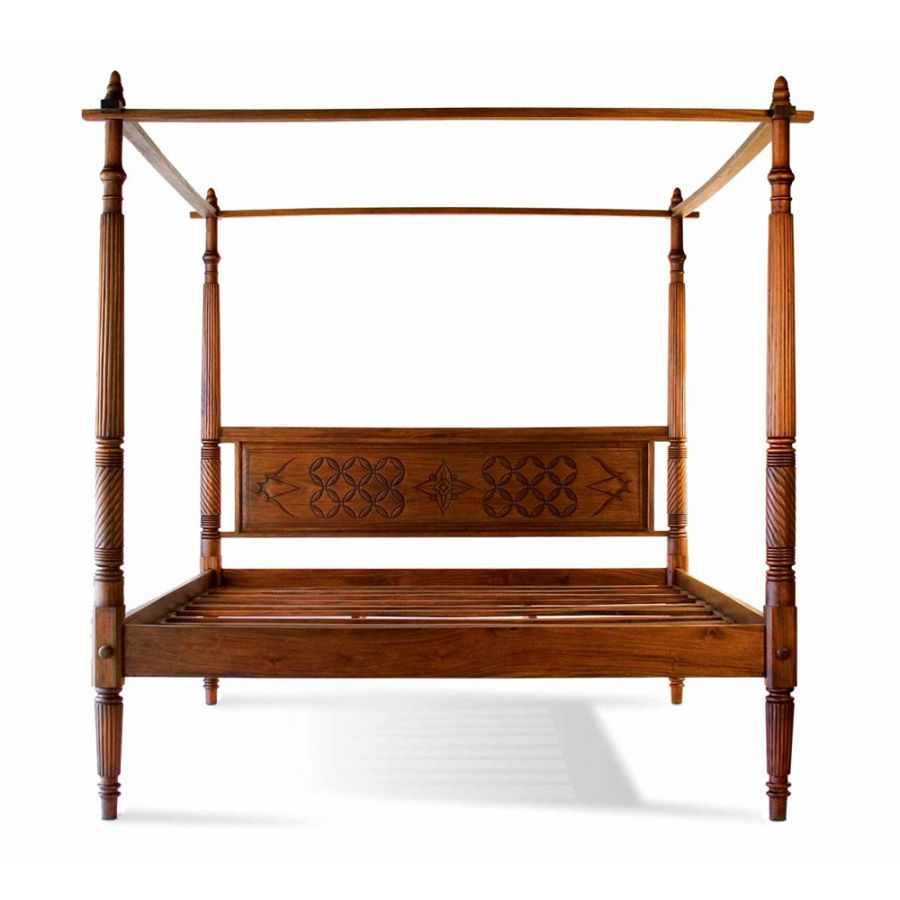 lotus canopy platform bed bedroom mahogany woodwork craftsmanship asian exotic