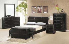 Cosmopolitan Leather Platform Bed leather platform bed, queen size platform bed, platform bed