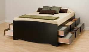 Augusta One Tall Storage Platform Bed twelve large below bed drawers, Multi-Functional Storage Platform Bed