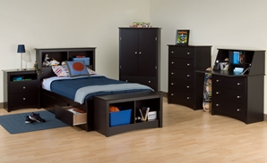 Augusta Kids Storage Platform Bed Set Give your child a bed to grow on with the Black or Maple finished Augusta Kids Multi-Functional Storage Platform Bed combines extra deep drawers for plenty of storage space with a no box spring required, slat support system.