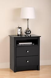 "Augusta 2-Drawer Tall Nightstand The Augusta 2-Drawer Tall Nightstand provides the same great style from the Augusta collection's regular nightstand, but with the addition of a shelf that makes it a little taller. Nightstand: 23.25""W x 28""H x 16""D Shelf: 16.5""W x 5""H x 12.5""D Drawers: 16."