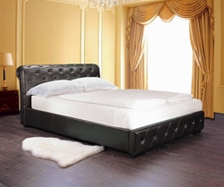 Harding Leather Platform Bed The Harding Leather Platform Bed is a contemporary-styled bed that is both elegant and luxurious. It features solid hardwood construction and lavish faux leather upholstery. The slat design eliminates the need for a box spring.