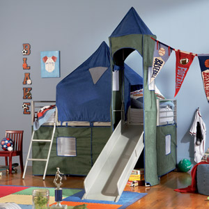 Camelot Boys Tent Bunk Bed Spark your childs imagination come bedtime with the Camelot Tent Bunk Bed.