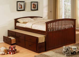 Cherry Trundle Storage Platform Bed Cherry Trundle Storage Platform Bed