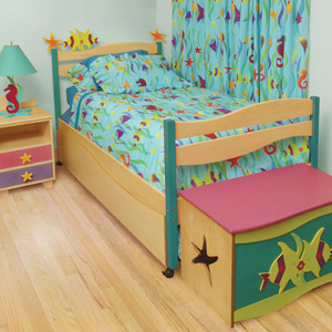 Enchanted Ocean Girls Twin Platform Bed Your little girl with feel the cool caress of the ocean with the Enchanted Ocean Twin Bed.