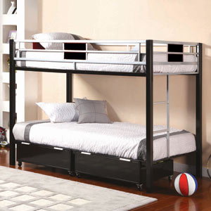 Go Mod Twin/Twin Bunk Bed The Go Mod Twin/Twin Bunk Bed makes stylish, modern space saving affordable.