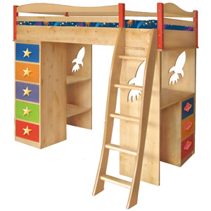 Space Cadet Boys Loft Bed The Space Cadet Loft Bed is set to take off - will your child be aboard this astronomically useful and fun bed?