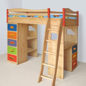 Just Truckin Boys Loft Bed Its a loft bed its a bunk bed...it's a desk...it's a dresser...its all of these things to you but for your kid it is sooo much more!
