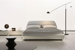 Alba Leather Platform Bed leather platform bed