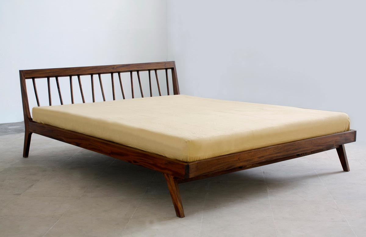 fifties 50's platform bed mid century modern design style classic retro mad men imported handmade mahogany