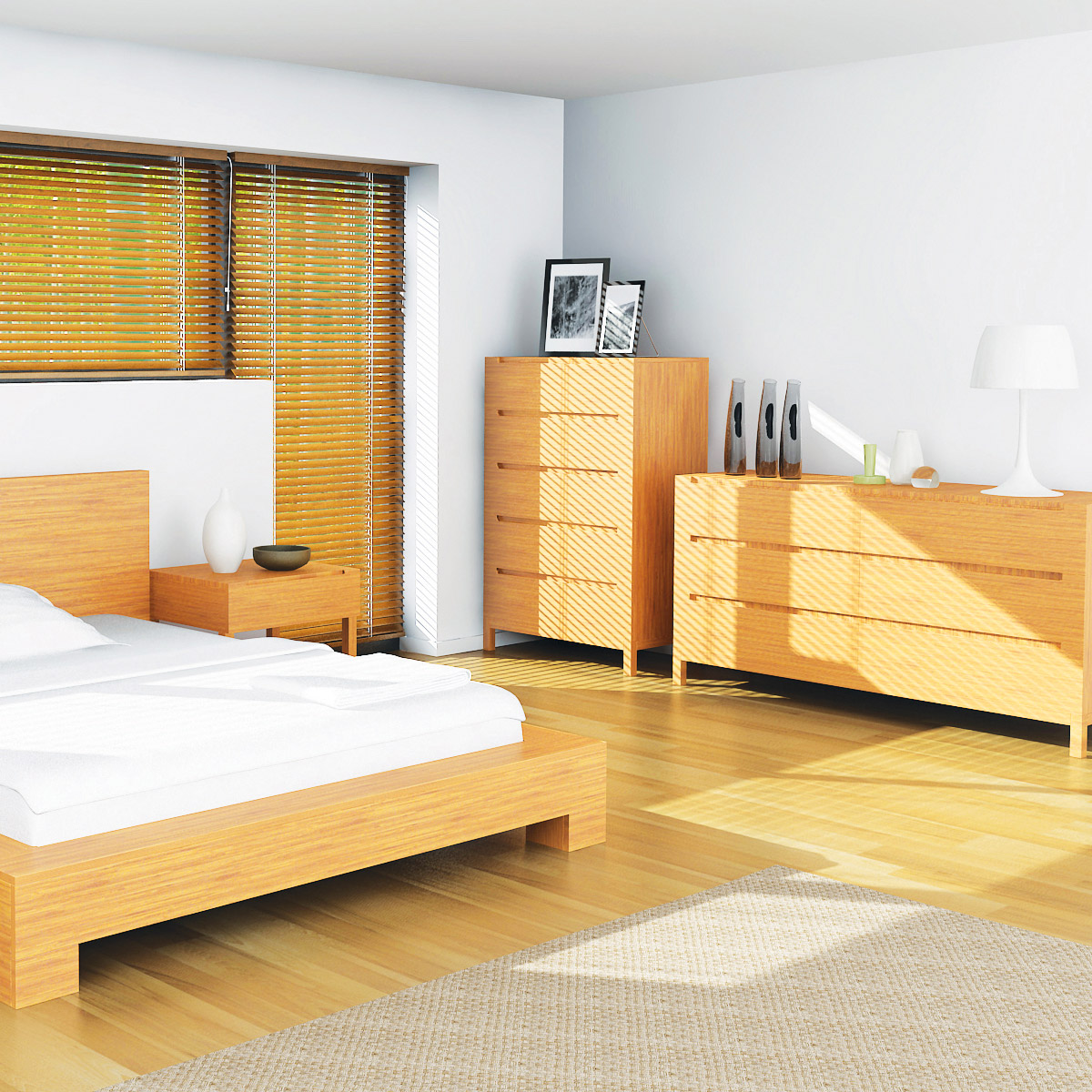 Enviro Bamboo 5 Drawer Chest The Enviro Bamboo 5 Drawer Chest offers modern style with sustainable furniture construction.  A luxurious yet simple chest of drawers with 5 easy glide drawers and notched drawer pulls. Coordinates with the Enviro Platform Bed.