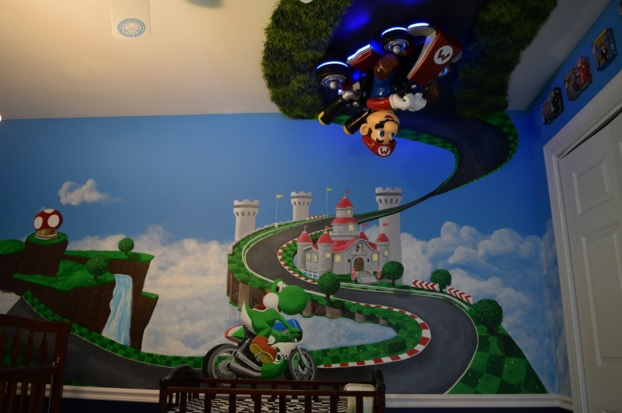 Mario on the wall in this super cool Mario Kart themed nursery and bedroom set