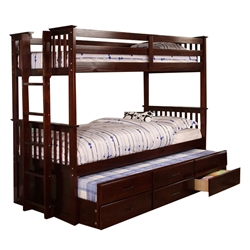 University Twin/Twin Bunk Bed - Dark Walnut CM458DW University Twin/Twin Bunk Bed - Dark Walnut CM458DW