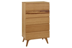 Azara Five Drawer Tall Chest - Caramel & Sable Finish azara, tall, chest, dresser, tall, collection, greenington, modern, bedroom, solid, wood, bamboo