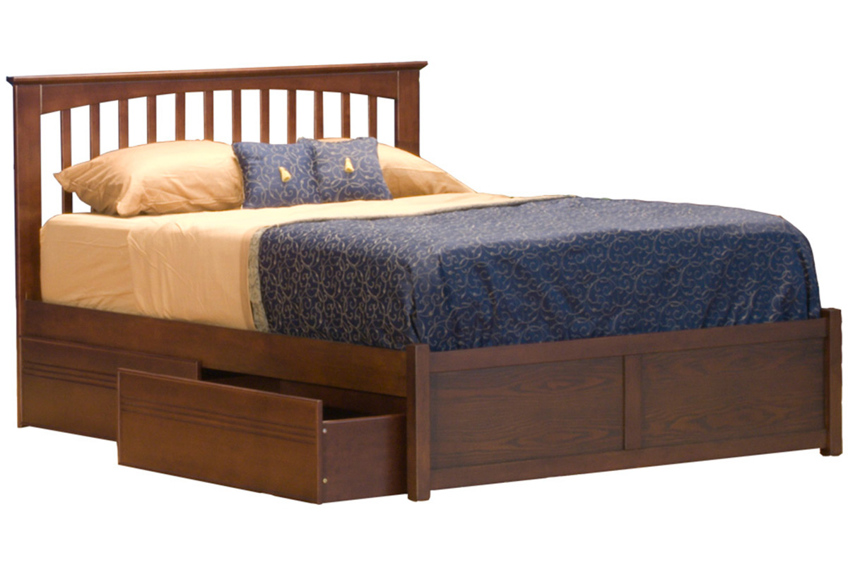 Platform bed twin bed frame solid wood charleston2 for Cute twin bed frames