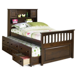 Captains Bookcase Platform Bed - Antique Walnut AP8526034 Captains Bookcase Platform Bed - Antique Walnut AP85260