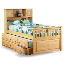 Captain%27s Bookcase Platform Bed - Natural Maple AP8526035 Captain%27s Bookcase Platform Bed - Natural Mapled AP8526035