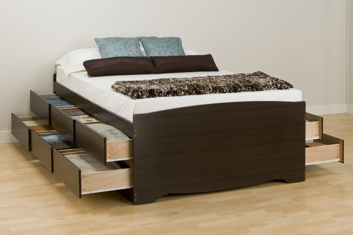 Full Size Platform Bed With Storage And Bookcase Headboard