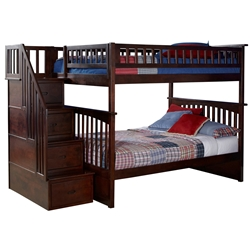 Columbia Full/Full Staircase Bunk Bed - Antique Walnut AB55804 Columbia Full/Full Staircase Bunk Bed - Antique Walnut AB55804
