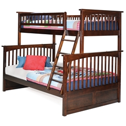 Columbia Twin/Full Bunk Bed - Antique Walnut AB55204 Columbia Twin/Full Bunk Bed - Antique Walnut AB55204