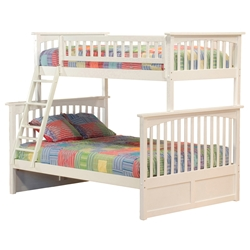 Columbia Twin/Full Bunk Bed - White AB55202 Columbia Twin/Full Bunk Bed - White  AB55202