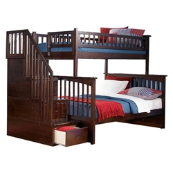 Columbia Twin/Full Staircase Bunk Bed - Antique Walnut AB55704 Columbia Twin/full Staircase Bunk Bed - Antique Walnut AB55704