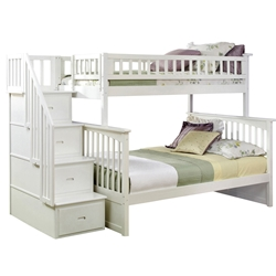 Columbia Twin/Full Staircase Bunk Bed - White AB55702 Columbia Twin/full Staircase Bunk Bed - White AB55702