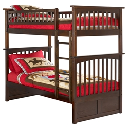 Columbia Twin/Twin Bunk Bed - Antique Walnut AB55104 Columbia Twin/Twin Bunk Bed - Antique Walnut AB55104