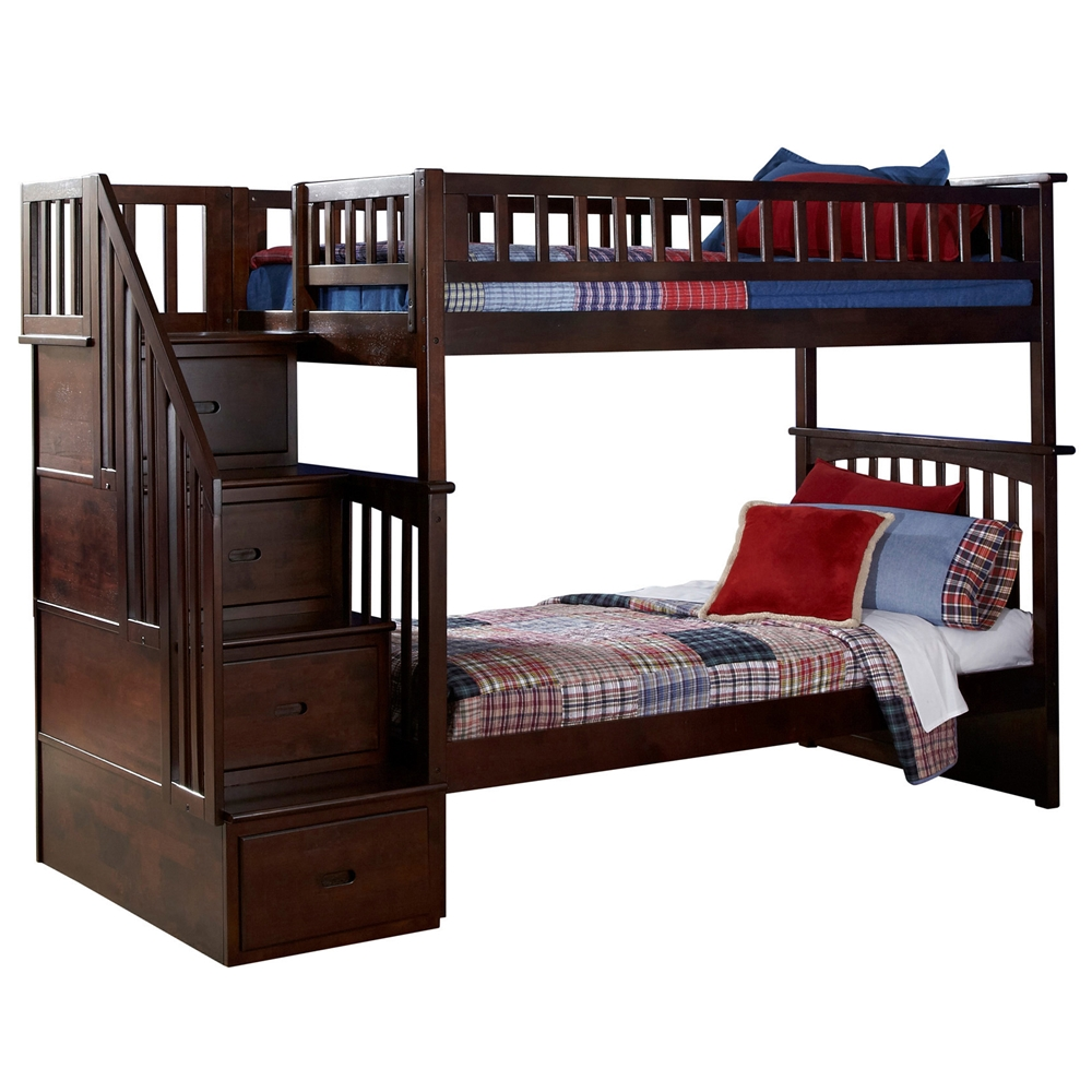 Columbia Twin Twin Staircase Bunk Bed Antique Walnut Ab55604