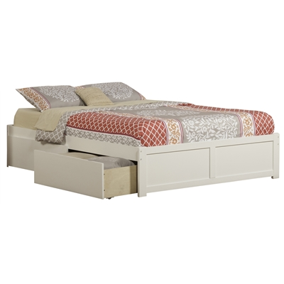 Concord Platform Bed with Flat Panel Footboard - White Concord Platform Bed with Flat Panel Footboard - White