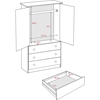 Edenvale 3-Drawer Wardrobe - Black BEP-3060-K - BEP-3060-K