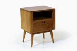 Fifties Nightstand - Danish Honey With its clean and simplistic design, the Fifties Nightstand with Danish Honey finish is the perfect piece to round out your Fifties bedroom set.