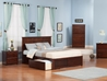 Madison Platform Bed with Flat Panel Footboard - Antique Walnut - AR86X2X14