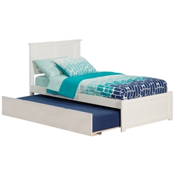 Madison Platform Bed with Flat Panel Footboard - White Madison Platform Bed with Flat Panel Footboard - White